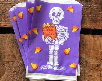 Vintage Halloween Treat Bags - Set of 5 - Trick or Treat, Vintage Paper Bags, Candy Bags, Party Favor Bags, Skeleton, Vintage Halloween Bag