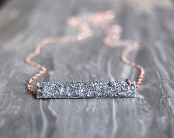 Crushed Crystal Bar Necklace - As Seen On Fuller House