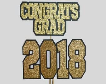2018 Graduation Centerpiece Sticks - Set of 2 - Class of 2018 - Graduation Party - Congrats Grad - Graduation Cap and Diploma - Laser Cut