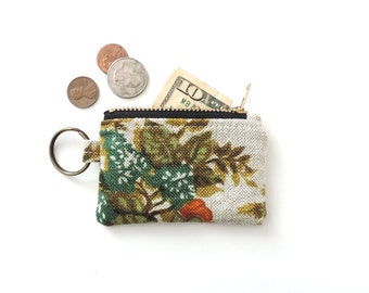 Linen Keychain Coin Purse Floral