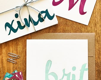 Personalized script wood type letterpress stationery