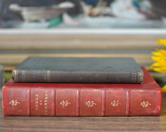 Antique Vintage Poetry Books, Poems of Tennyson 1908, Underwoods Ballads, Songs of Travel 1922, Vintage Book Stack