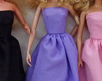 "Birthday Party Black Pink or Purple 11.5"" Fashion Doll Dresses for you to decorate"