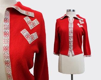 1950s Schiaparelli Red Cardigan
