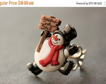SUMMER SALE Snowman Ring. Snow Ring. Holiday Ring. Happy Snowman Ring. Christmas Jewelry. Adjustable Ring. Christmas Ring. Silver Ring. Holi
