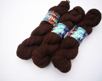 Hand dyed Double knit weight yarn 100% Superwash Merino 50g  - chocolate