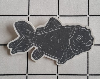 Linoprint goldfish shrink plastic brooch