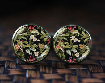 Victorian Style art print cufflinks, Victorian floral cufflinks, black art flower cufflinks,  floral print cufflinks