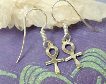 Sterling Ankh Earrings, Small Ankh Egyptian Jewelry, Solid .925 Silver - SE-1756-FEW