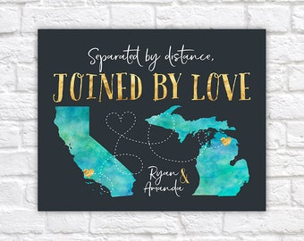 Custom Gift for Long Distance Relationships, Joined by Love, Watercolor Style Maps, United States, Distance Quote, Gold Accents   WF350