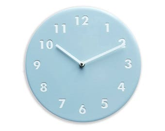 Light blue wall clock. Modern wall clock. Numbers clock. Wood wall clock. Solid color on birch, engraved numbers.  CL4015