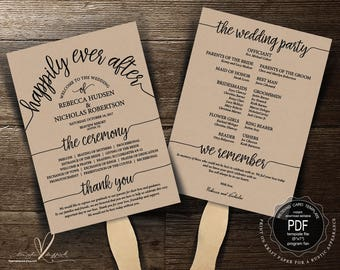 Wedding Program Fan PDF template, instant download editable printable, Ceremony order card in rustic theme, fan (TED410_12F)
