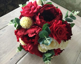 Artificial red rose & peony x1 Brides bouquet with greenery eucalyptus leaves and berry balls vintage ivory roses