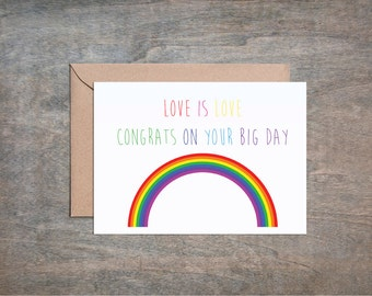 Love is Love Wedding Card. Gay Wedding Card. LGBT Card. Lesbian Wedding Card. Rainbow Card. Bridal. Groomsman.