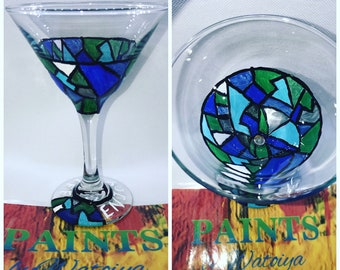 Hand Painted Personalized Abstract Martini Glass