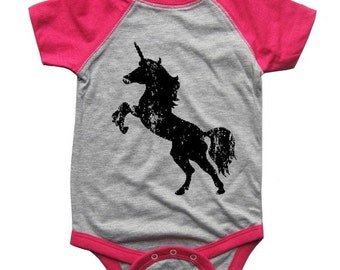 Unicorn Bodysuit Raglan one piece shirt creeper Baseball jersey screenprint