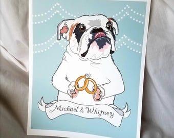 Wedding English Bulldog - Customizable - Eco-Friendly 8x10 Print