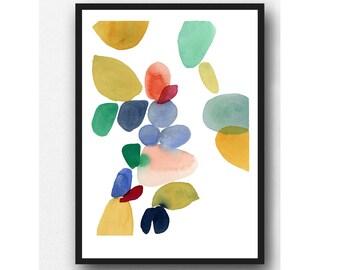 Autumn series, colorful watercolor print, Abstract watercolor painting Watercolor print, colorful home decor