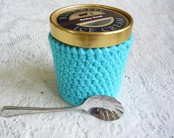 Pint Ice Cream Sleeve - Handmade Crochet Ice Cream Cozy - Sky Blue Ice Cream Holder -Pint Size Cozy Cover - Housewarming Gift