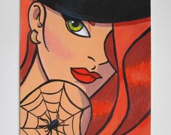 Original Acrylic Postcard size Painting Pop art comic girl woman size 6 x 4 inches HALF PRICE SALE 4.93