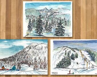 Set of 3 Mt Washington BC Postcard Print, Vancouver Island, Canada