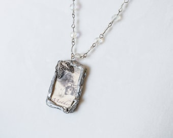MOTHERS DAY GIFT Soldered Microscope Slide Vintage Mother Necklace Crystal and Ribbon Cord