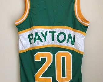 Gary Payton #20 Seattle SuperSonics Green and Yellow Basketball Vintage Jersey Men's