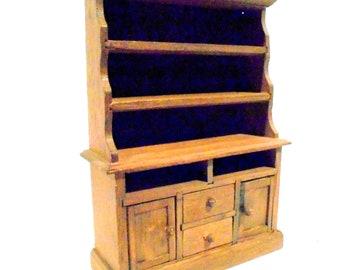 Dollhouse Brown Hutch Drawers Shelves Doors Miniature Wooden Hutch