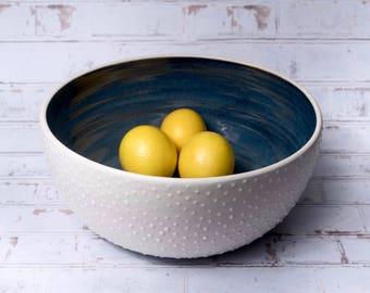 Studded modern ceramic bowl. made to order. large salad bowl. pho bowl. handmade ceramic bowl. wheel thrown pottery bowl. modern.minimalist