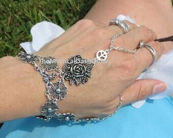 Hippie bracelet hand chain, double finger ring bracelet chain, slave bracelet, slave ring, thumb ring bracelet, slave jewelry, thumb slave