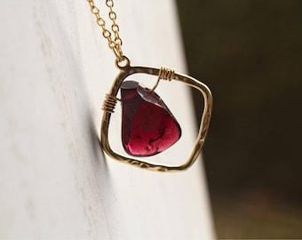 Garnet Necklace, Garnet Heart, Faceted Candy Garnet, Handmade, Original Design, Gift For Her, January Birthstone