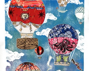Hot Air Balloons VII - Multimedia - Linocut 18th Century Hot Air Balloons with Collaged Japanese Papers & Ephemera Illustration Print