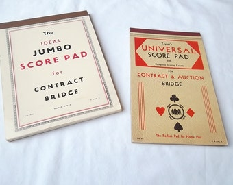 Vintage Bridge Score Pad, 1935 and 1948, Set of 2