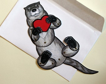 Valentine's Day Articulated Otter Card Paper Doll - fully assembled with message <3