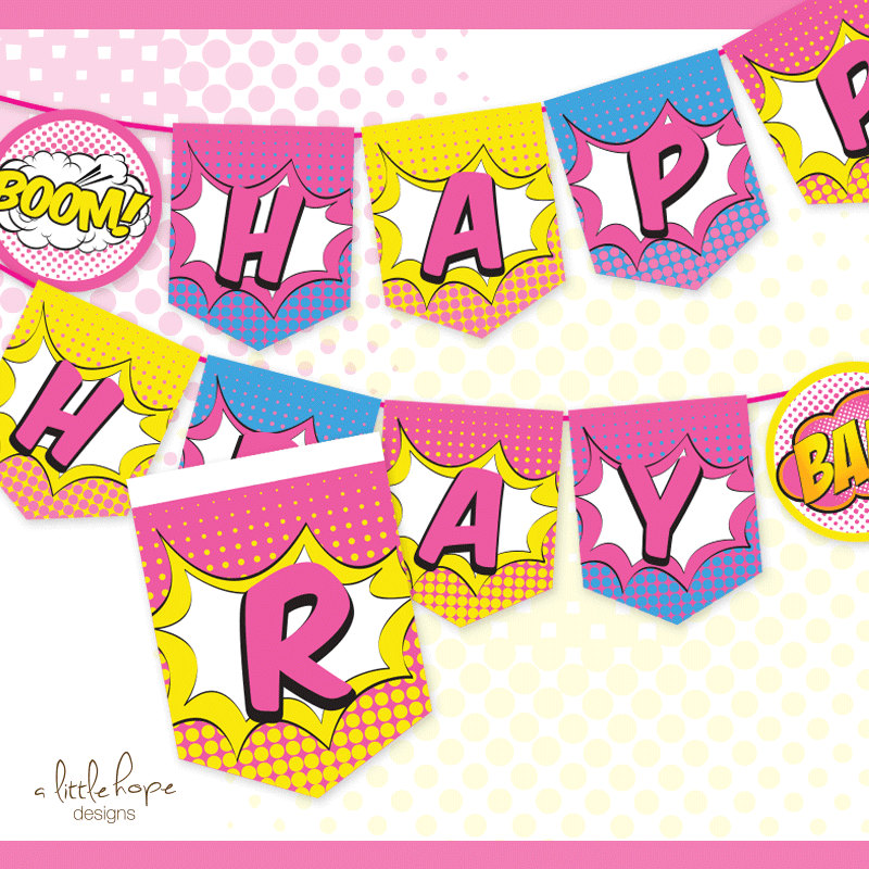 New Superhero Girl Happy Birthday Banner / Sign / Pennant / CB28
