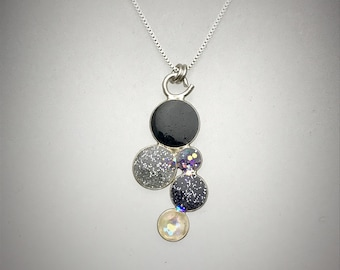 Sterling Black, silver and white resin cluster necklace