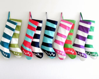 Personalized Christmas Stocking Personalized Stocking, Kids Stockings Family Stockings Modern Striped Boys Girls Holiday Decoration Dr Seuss