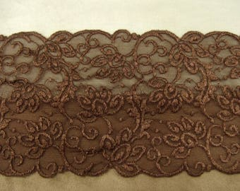 lace of Calais - 12 cm - brown elastic
