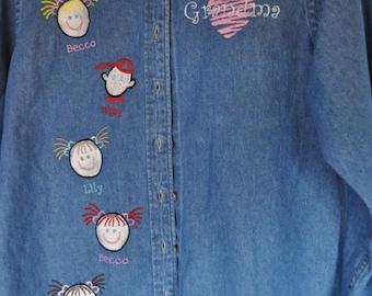 Personalized Grandma Denim Shirt