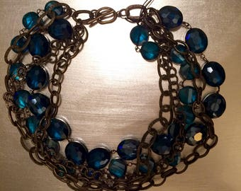 Deep Teal Crystal and Bronze Collar Necklace