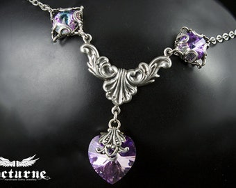 Victorian Necklace with Heart - Swarovski Necklace in Vitrail Light - Victorian Gothic Jewelry