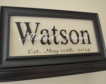 Custom Name Sign, Personalized Wedding Sign - Wedding Gift Sign - Anniversary Gift - Personalized Family Name Sign Picture Frame Wall Sign