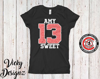 Monogram Teenager Girl Birthday  Official Teenager Shirt Thirteen Year Old Girl 13th Birthday Girls Tee Custom Girl Name Shirt