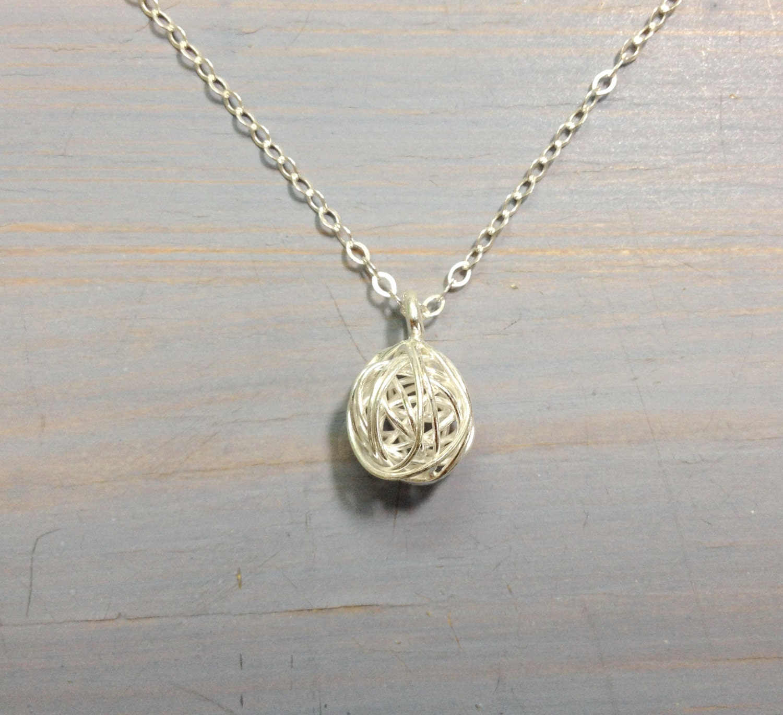 Sterling Silber Draht Kugel Nest gewickelt Anhänger Halskette