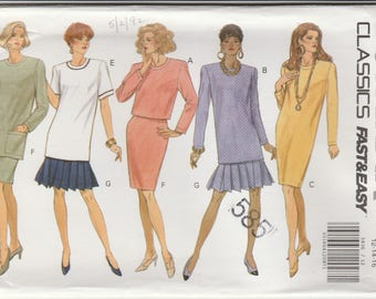 90s Dress, Top & Skirt Pattern Butterick 5509 Sizes 12 14 16 Uncut