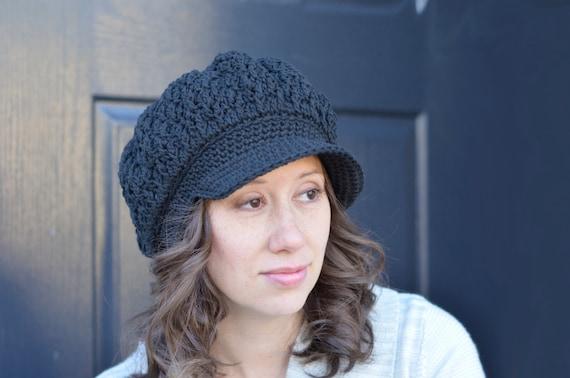 Damen Schiebermütze Hut Hut schwarz häkeln häkeln Mützen für