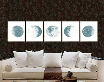 Moon Phases Watercolor Art Print Moon Phases Set of 5 Lunar Phases Poster Moon Painting Moon wall art Moon Phases art decor