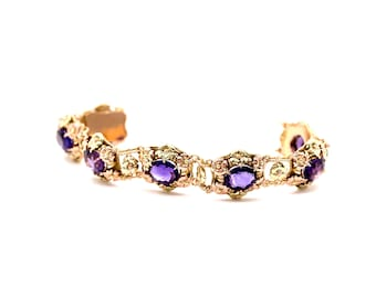 Amethyst Bracelet, Purple  Stone Bracelet, Amethyst With Bi color Gold,Vintage Amethyst Bracelet,Bracelet With Flowers in Two tone | BR01215