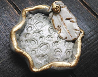 Jewelry Dish: Feather Accented Gray, Gold & White Trinket Dish. Gray Ring Dish. Clay Dish. Catch-all. Ring Dish. Jewelry Storage. Tiny Dish