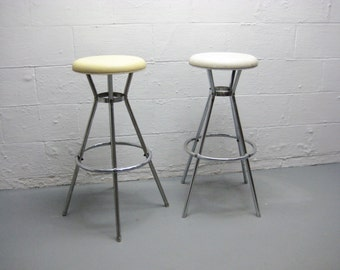 Mid Century Stool Atomic Age Style, Set of two  Cosco Kitchen Bar Stool Chair Vinyl, Chrome and Metal
